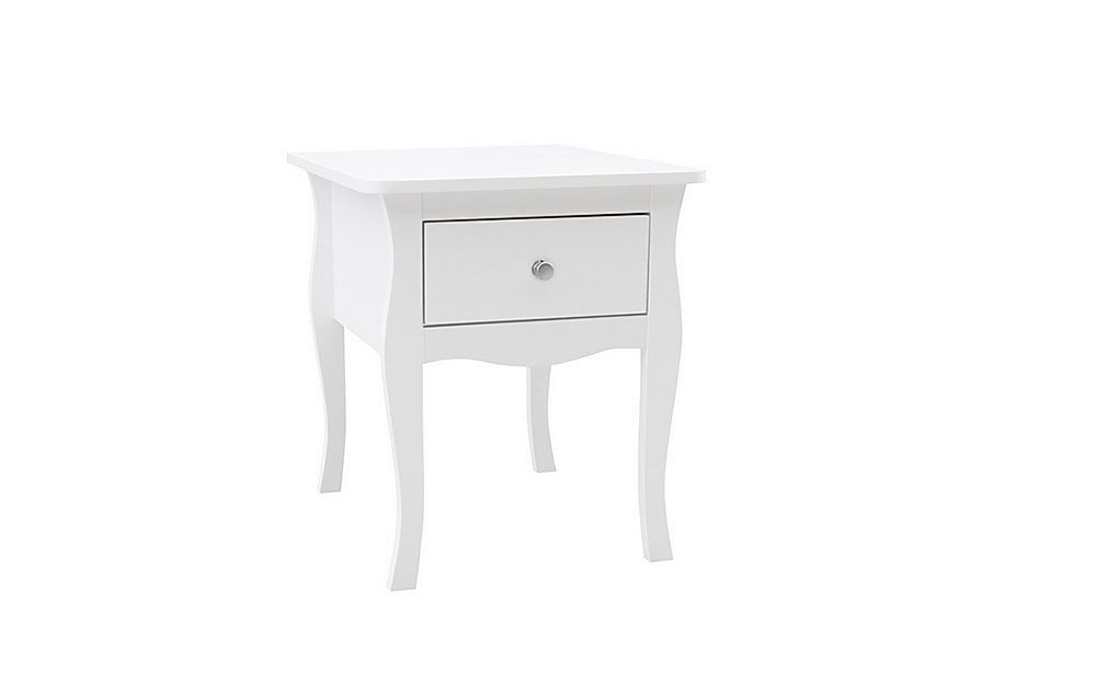 Paris White 1 Drawer Bedside Table