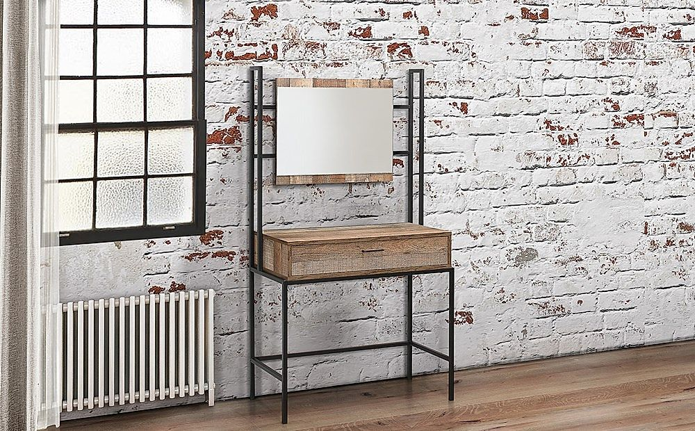 Urban Rustic 1 Drawer Dressing Table with Mirror
