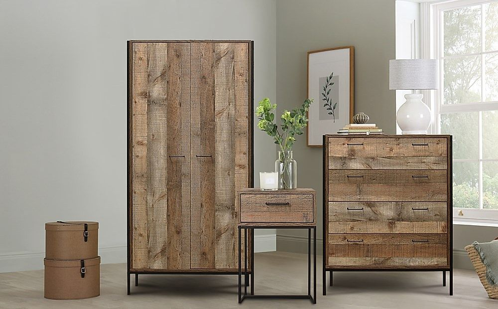 Urban Rustic 3 Piece 2 Door Wardrobe Bedroom Furniture Set
