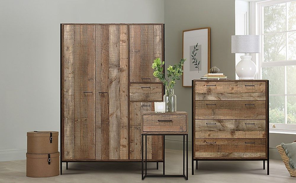 Urban Rustic 3 Piece 4 Door Wardrobe Bedroom Furniture Set