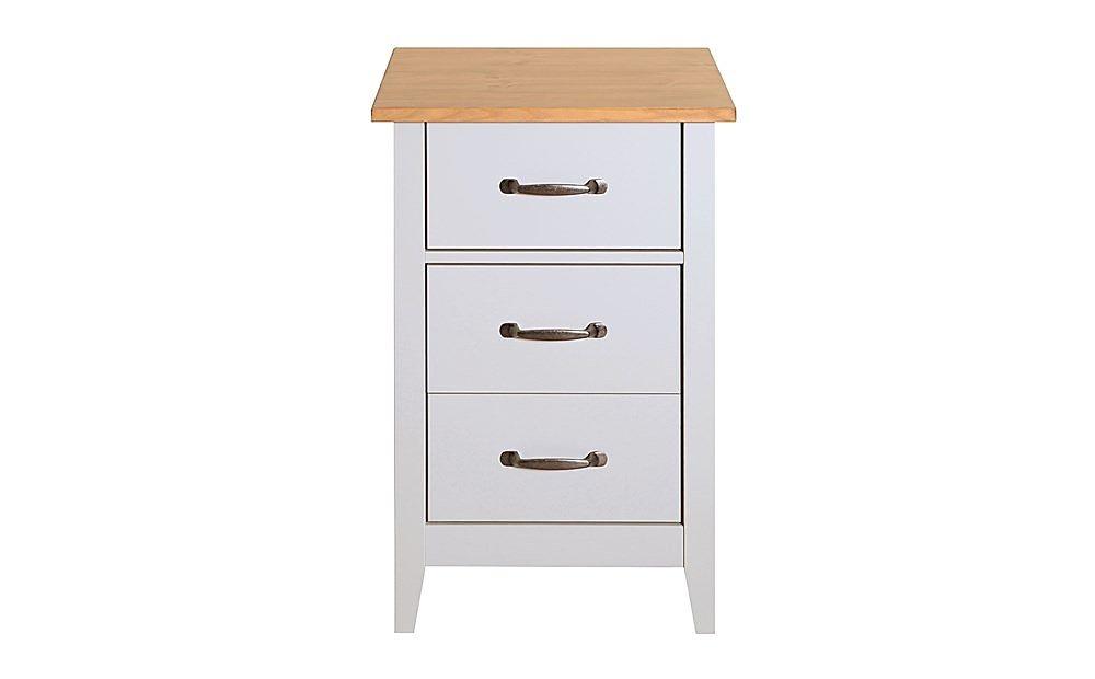 Norfolk Grey and Oak 3 Drawer Bedside Table