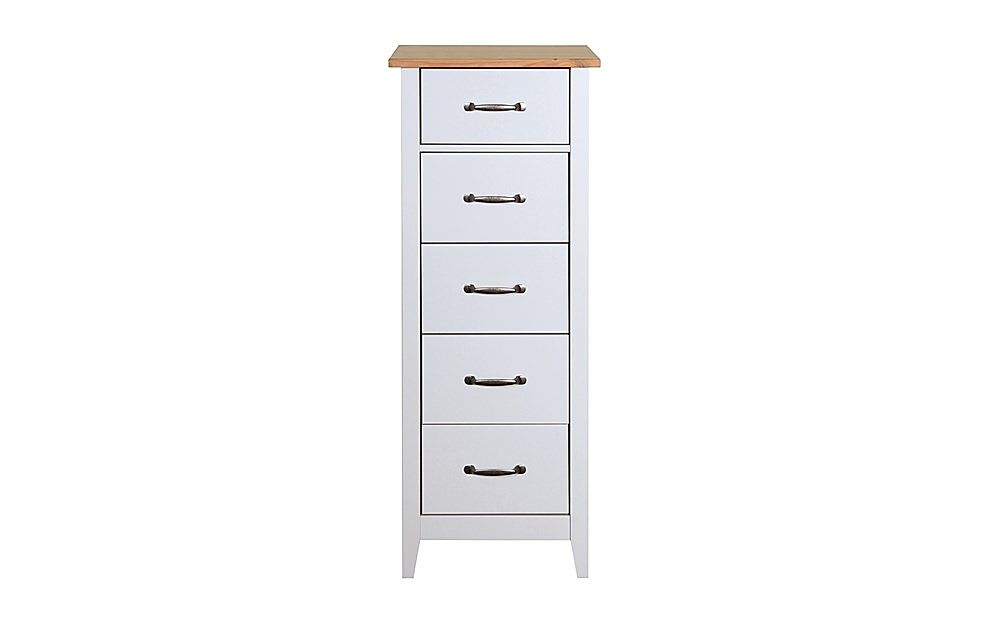 Norfolk Grey and Oak 5 Tall Narrow Chest of Drawers