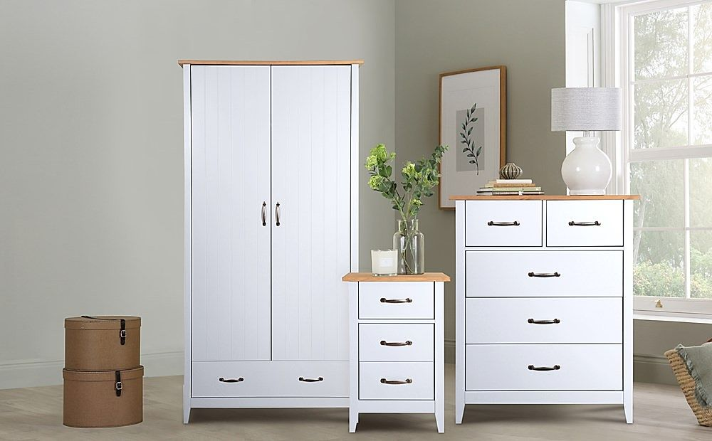 Norfolk Grey and Oak 2 Door 1 Drawer Wardrobe Furniture Set