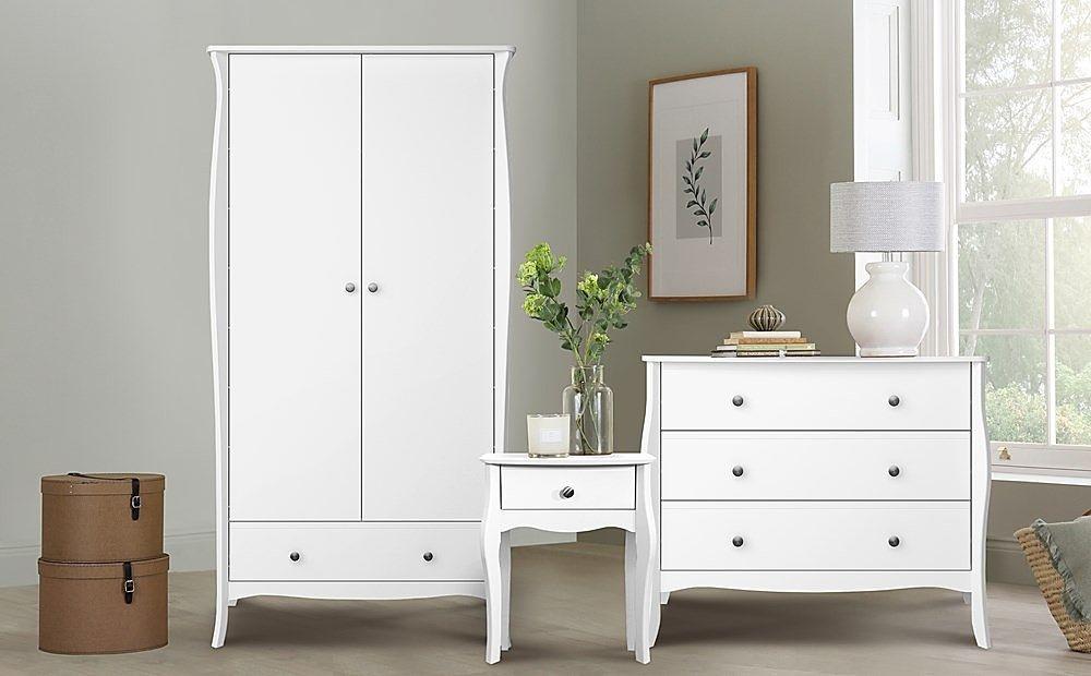 Baroque White 2 Door 1 Drawer Wardrobe Furniture Set