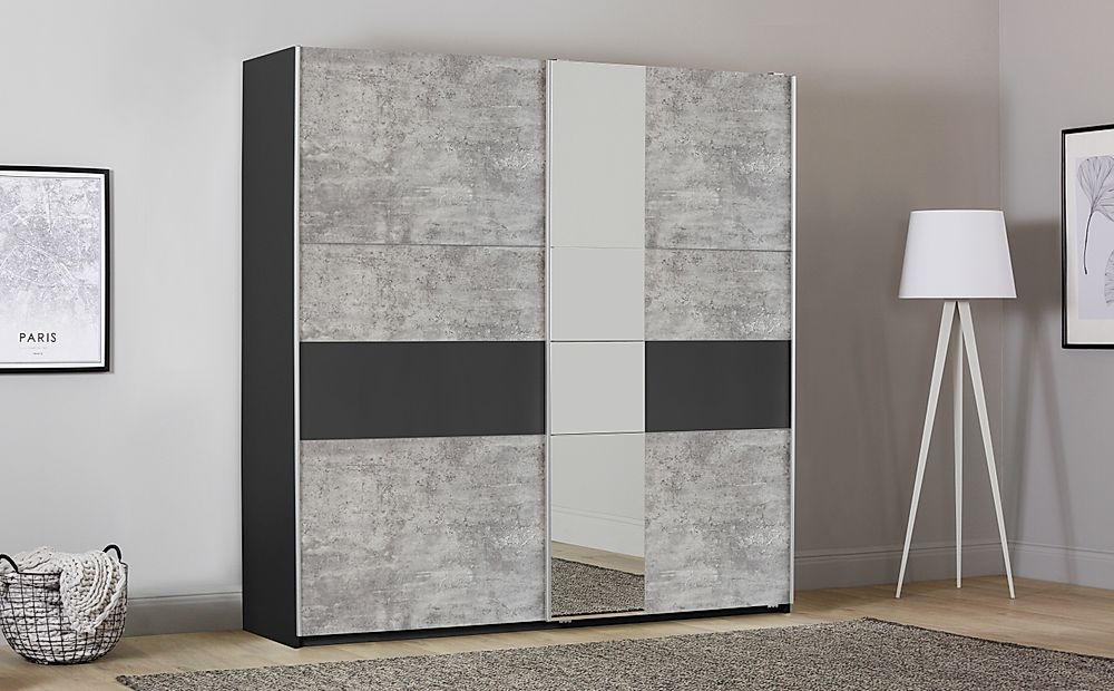 Rauch Korbach Metallic and Stone Grey 2 Door Sliding Wardrobe with Mirror 218cm