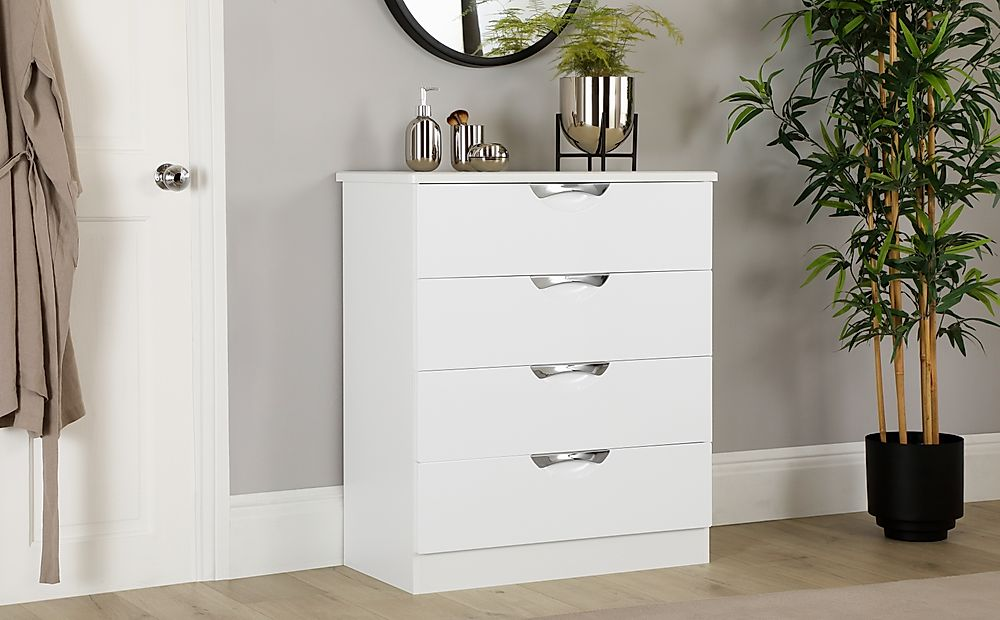 Camden White and White High Gloss 4 Drawer Chest of Drawers