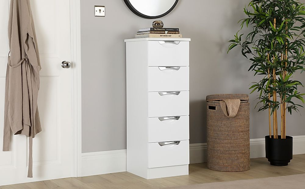 Camden White and White High Gloss Tall Narrow 5 Drawer Chest of Drawers