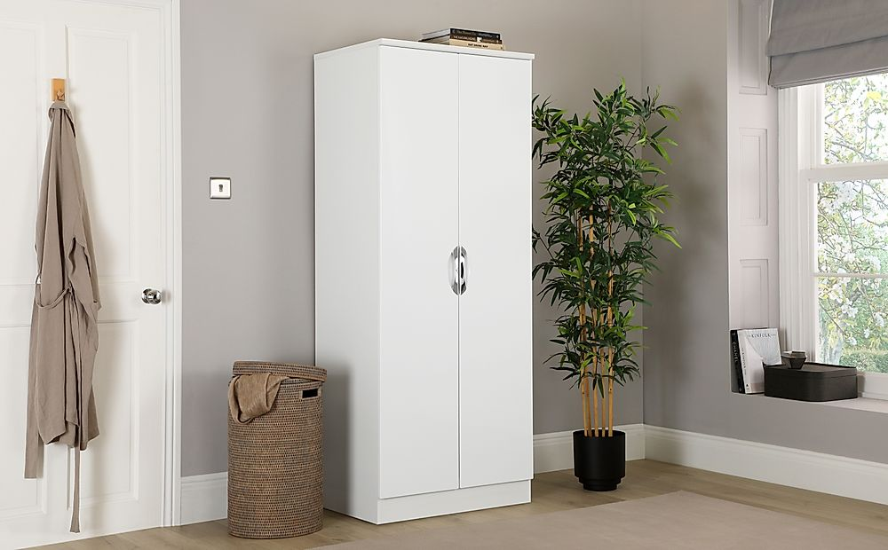 Camden White and White High Gloss 2 Door Wardrobe