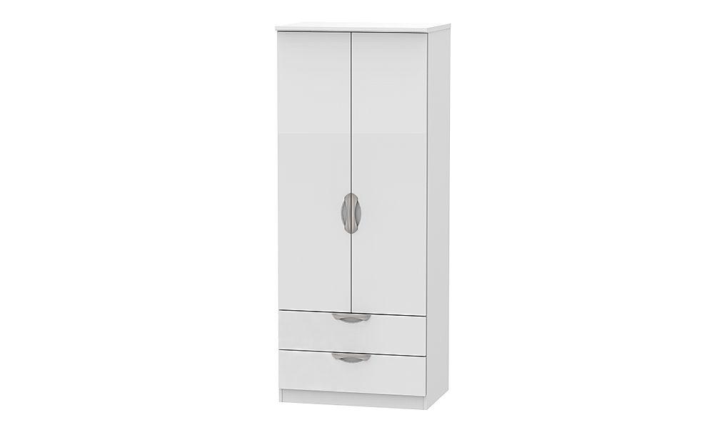Camden White and White High Gloss 2 Door 2 Drawer Wardrobe