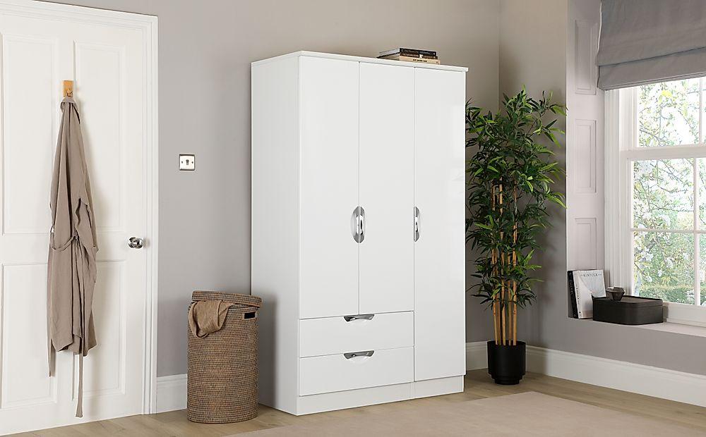 Camden White and White High Gloss 3 Door 2 Drawer Wardrobe
