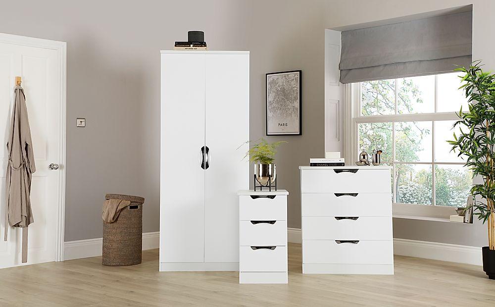 Camden White High Gloss 3 Piece 2 Door Wardrobe Bedroom Furniture Set