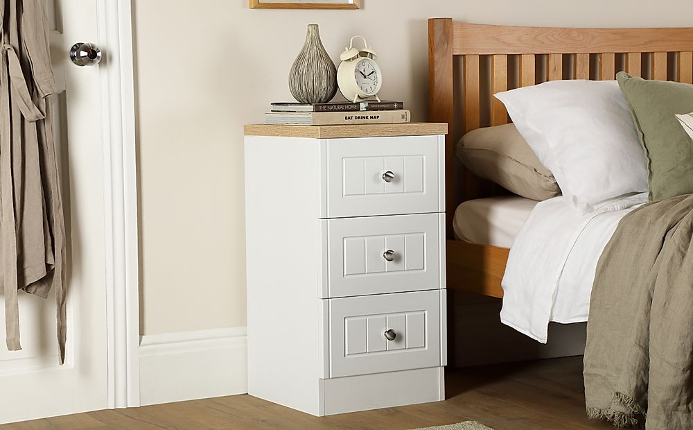 Vienna Porcelain Ash and Bordeaux Oak 3 Drawer Bedside Table