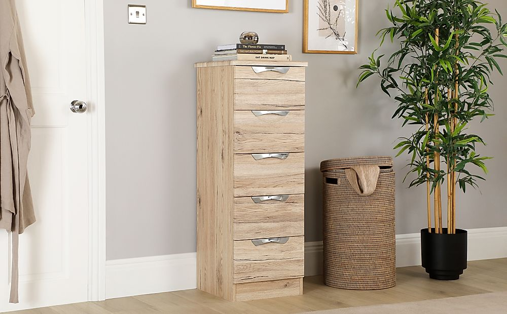 Camden Oak Tall Narrow 5 Drawer Chest of Drawers