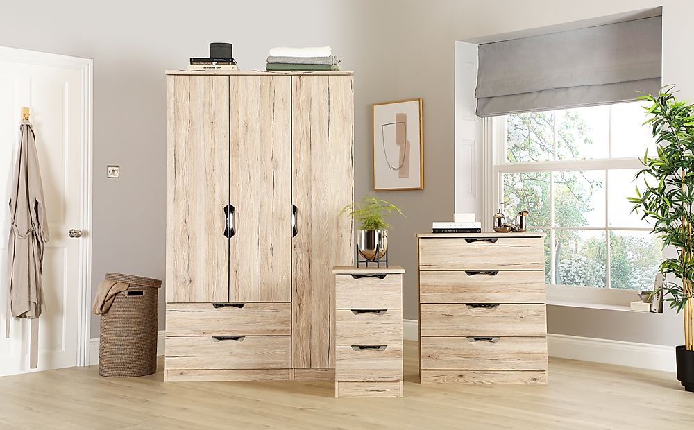 Camden Oak 3 Piece 3 Door Wardrobe Bedroom Furniture Set