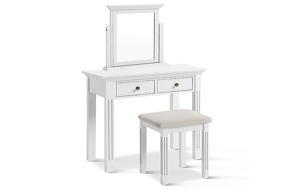 Berkeley Painted White Dressing Table, Stool and Mirror Set