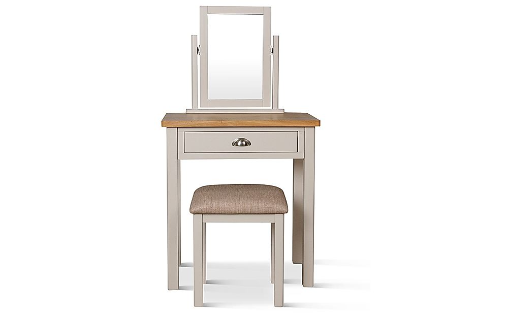 Newton Painted Grey and Oak Dressing Table, Stool and Mirror Set