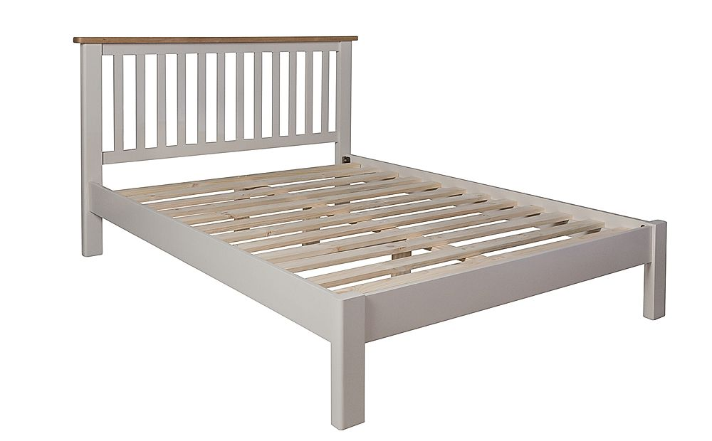 Newton Painted Grey and Oak Wooden Bed Double