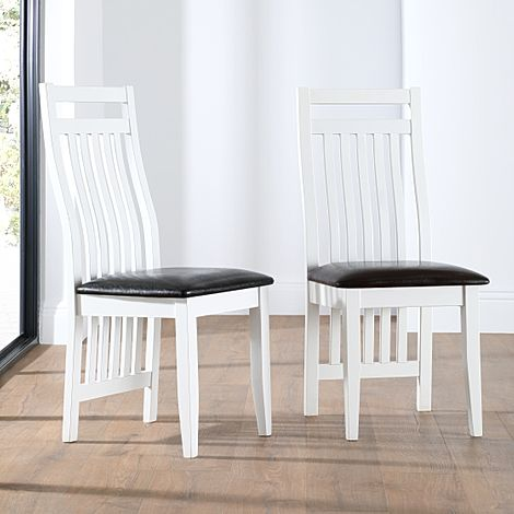 Java White Dining Chair Black Leather Seat Pad