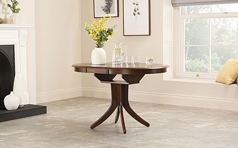 Hudson Round Dark Wood 90-120cm Extending Dining Table