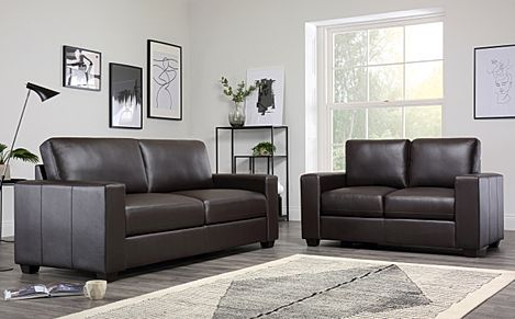 Mission Brown Leather Sofa Suite 3+2 Seater