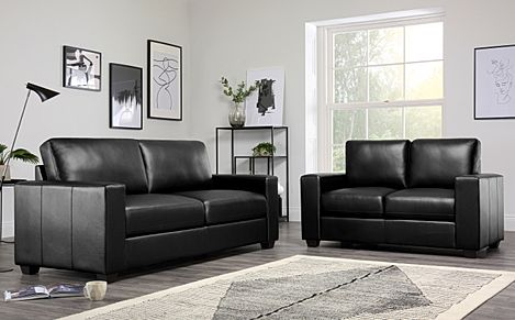Mission Black Leather Sofa Suite 3+2 Seater