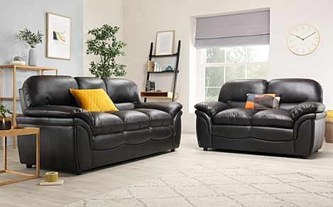 Rochester Dark Brown Leather Sofa Suite 3+2 Seater