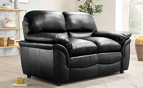 Rochester Black Leather 2 Seater Sofa