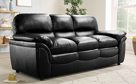 Rochester Black Leather 3 Seater Sofa