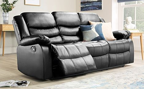 Sorrento Black Leather 3 Seater Recliner Sofa