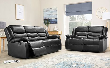 Sorrento Black Leather 3+2 Seater Recliner Sofa Set