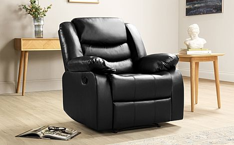 Sorrento Black Leather Recliner Armchair