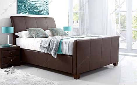 Kaydian Allendale Leather Ottoman Storage Bed - King Size - Brown