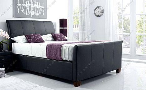 Kaydian Allendale Leather Ottoman Storage Bed - King Size - Black