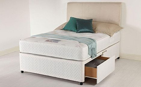 Healthopaedic Total Comfort 1000 Small Double Memory Foam 2 Drawer Divan Bed - Medium