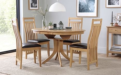 Hudson Round Oak Extending Dining Table with 4 Bali Chairs (Brown Leather Seat Pads)