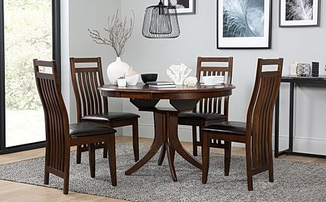 Hudson Round Dark Wood Extending Dining Table with 6 Java Chairs (Brown Leather Seat Pads)