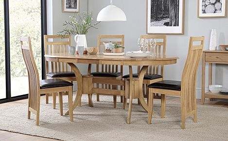 Townhouse Oval Oak Extending Dining Table with 6 Bali Chairs (Brown Leather Seat Pad)