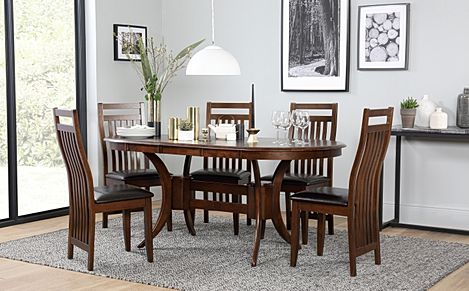 Townhouse Oval Dark Wood Extending Dining Table with 4 Java Chairs (Brown Leather Seat Pads)