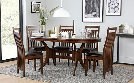 Townhouse Oval Dark Wood Extending Dining Table with 6 Java Chairs (Brown Leather Seat Pads)