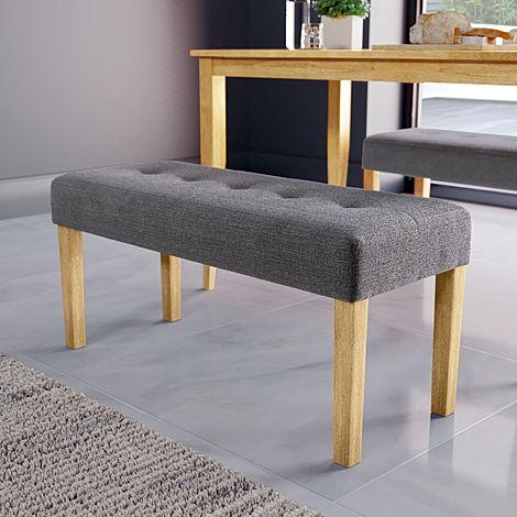 York Slate Grey Fabric Dining Bench (Oak Leg)