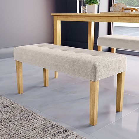 York Oatmeal Fabric Dining Bench (Oak Leg)