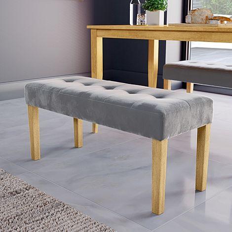 York Grey Velvet Dining Bench (Oak Leg)