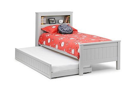 Maine Grey Bed with Trundle and Shelf Single