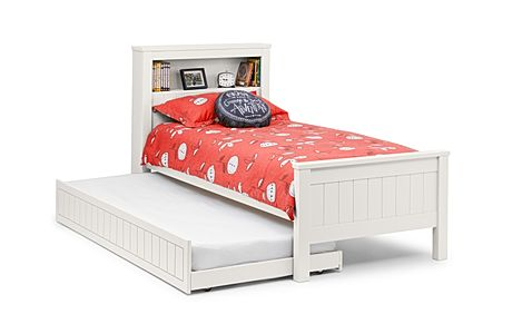 Maine White Bed with Trundle and Shelf Single