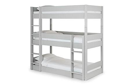 Harper Grey Triple Bunk Bed Single