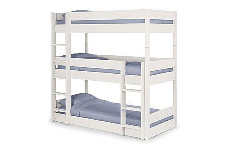 Harper White Triple Bunk Bed Single
