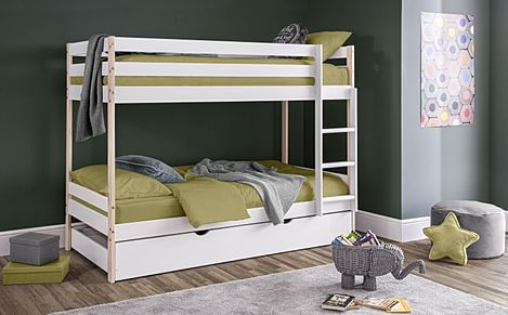 Fern White & Pine Bunk Bed with Trundle Single
