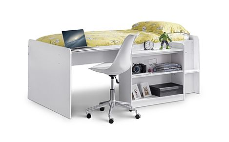 Comet White Midsleeper with Desk Single