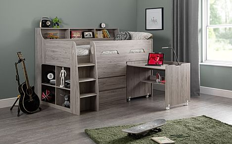 Saturn Grey Midsleeper with Storage and Desk Single