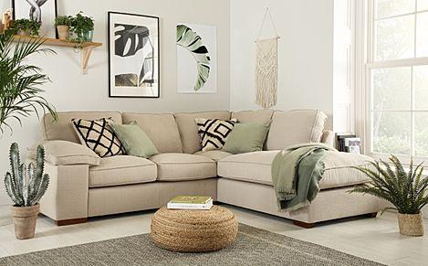 Cassie Linen Fabric L Shape Corner Sofa - RHF